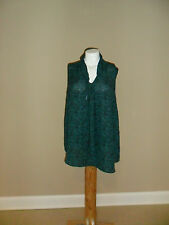 AVA&VIV Women's plus Tie V-neck Top Sleeveless Green/Black Geometric3X NEW