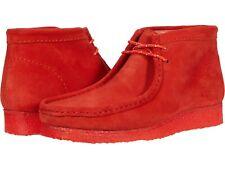 Zapatos de Hombre Clarks Originals Wallabee Botas Con Cordones Mocasín 54745 Rojo Gamuza