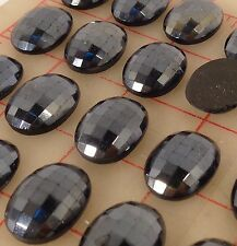 28 glass checkerboard faceted flat back ovals 25 x 18mm hematitie gunmetal
