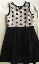 Beautees Girls Teen Scuba Dress with  Flowers Black & White size 16 EUC