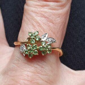 Ring Silber 925 Gold vergoldet Tsavorit und weisser Diamant neu