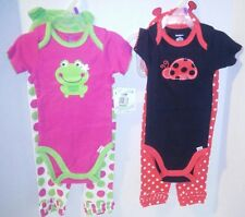 Gerber Girl's Size 12 Months Frog 3 Piece Outfit and Ladybug 3 Piece Outfit. NEW