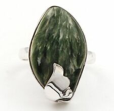 Russian Seraphinite 925 Solid Genuine Sterling Silver Ring Jewelry Sz 8 B6-2