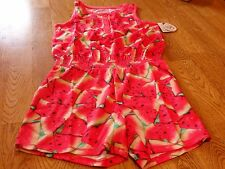 "NWT! ""SO"" GIRL'S WATERMELON PRINT SLEEP ROMPER SIZE 8  $26."