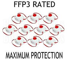 BOX OF 10 FFP3 VALVED DUST MASK SAFETY FILTER RESPIRATOR ASBESTOS SPRAY PAINT 41