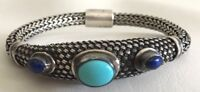Sterling Silver Bali Indonesia Wheat Spiga Round Weave Bracelet Lapis Turquoise
