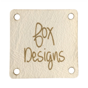 Personalised Cream Faux Leather Tags Square 25mm Product tags, Sewing Labels