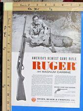 1962 RUGER 44 Magnum carbine Bill w/ African Warthog in 1961 Vtg Print Ad 9694