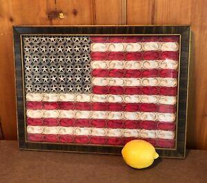Vtg c1912 Folk Art 48 Star AMERICAN FLAG hand sewn crochet textile rare unusual