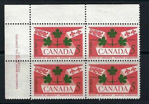 CANADA - SCOTT 388 - UL PLATE BLOCK NO. 1 - PLAINS OF ABRAHAM - 1959