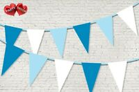 Light Blue Royal Blue White Coloured Bunting Banner 15 Flags   by PARTY DECOR