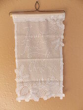 HERITAGE LACE WHITE HEARTS COME HOME FOR CHRISTMAS BANNER NWOT 12X20 ITEM 7046