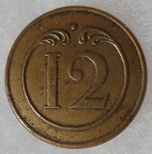 Bouton plat 1° EMPIRE Napoléon 12° Infanterie de ligne ORIGINAL GM 23 mm France