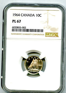1964 CANADA 10 CENT SILVER DIME NGC PL67 PROOF LIKE RARE TOP GRADE NONE HIGHER