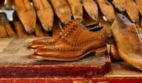 Mens Handmade Shoes Brown Leather Wing Tip Brogue Lace Up Up Formal Dress Casual