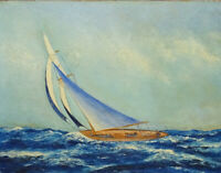 1946 H. Hansen American Yacht Sailboat Nautical Seascape Original Oil Painting