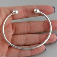 "7.5"" Sterling Silver Charm Cuff Bangle Bracelet - 925 Silver Removable Bead NEW"