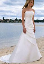 New White ivory Taffeta Wedding Dress Bridal Gown Stock Size:6-8-10-12-14-16-18