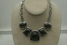 Lia Sophia Kiam Family Silver Chain Necklace With Faux Amber Pendants. Bold