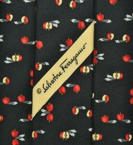 SALVATORE FERRAGAMO Tie 100% Silk Apple Pattern Black/Red Color L57 W3.7