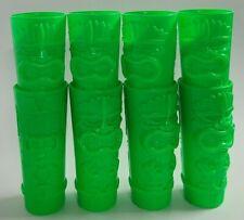 New listing 8 Plastic Neon Green Tiki Cup by Whirley Drink Works Warren Pa Bar Beach Pool