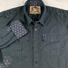 Quicksilver Men XL Embroidered Long Sleeve Shirt Rockabilly Swallow Tattoo Black