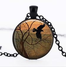 Winter Wings Black Glass Cabochon Necklace chain Pendant Wholesale