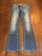 MEK Buckle Jeans Chicago Boot Cut 28 x 34 Distressed Mid Rise Women Denim Blue