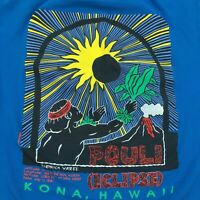 Vintage T-Shirt 1991 Pouli Kona Hawaii Solar Eclipse 2-sided, stained