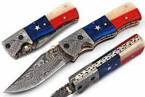 "4.25"" CUSTOM HANDMADE DAMASCUS STEEL TEXAS FLAG FOLDING KNIFE BONE & WOOD; 827cm"