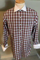 Brooks Brothers Mens 1818 Plaid French Cuff Button Down Shirt Size 16.5 Slim Fit