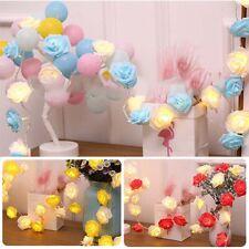 10-50LED Rose Flower Xmas String Light Fairy Wedding Christmas Party Lamp Decor