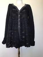 Free People M longer length cardigan lace crochet detail unique Alpaca blend