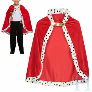 Halloween Royal Prince Cloak Childrens King Cape Medieval Fancy Dress Costume