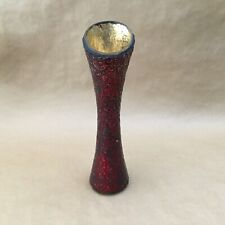"Red & Gold Shattered Glass Round Flower Vase 11"" Tall"