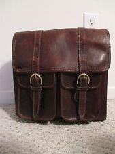Henry Louis vintage mail bag / messenger briefcase brown distressed leather