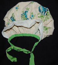 Vintage Young Girls Hair Bonnet Hat White Blue Floral Flowers Green Cap Chin Tie