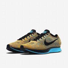 Nike Flyknit Racer Bright Citrus Black Blue Lagoon 526628-800 Men's Size 12