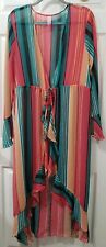 NOBO Women Tunic Long with flown Open front Sleeve bell stripes Plus Size 3X
