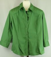 George Womens Ladies Green 3/4 Sleeve Button Down Blouse Top Size XL