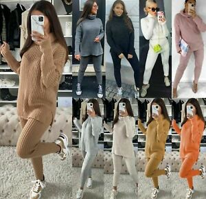 Womens Chunky Knitted High Roll Neck Tracksuit Ladies Ribbed Loungewear Suit Set