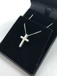 SOLID STERLING SILVER 925 CROSS WITH REAL DIAMOND NECKLACE - BRIDESMAID PRESENT