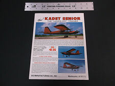 VINTAGE SIG KADET SENIOR HANDS OFF TRAINER  R/C PLANE AD SHEET 1-SIDED *VG-COND*