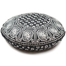 "Black & White Throw Decorative Floor Pillow Cushion Cover Case Mandala- 32"""