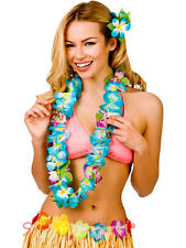 Hawaii Party Blue Orchid Lei Flower Hula Fancy Dress Garland Necklace 8.5cm