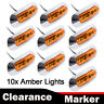 10pcs Truck Side Marker Tail Light Clearance Lamp Trailer Amber 4 LED 12V 24V