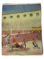 Original Painting Bull Ring Fighting Lima Peru Arturo Guzmay Folkart VTG 7488