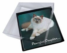4x Birman Cat 'Purrrfect Daughter' Picture Table Coasters Set in Gift Bo, PD-85C