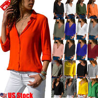 US Women Long Sleeve V Neck Loose Blouse Tops OL Ladies Casual Loose T Shirt Lot