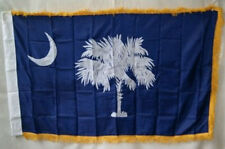 4x6 Embroidered Sewn South Carolina Sleeve Gold Fringe 600D Nylon Flag 4'x6'